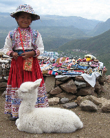 Girl and alpaca in Peru